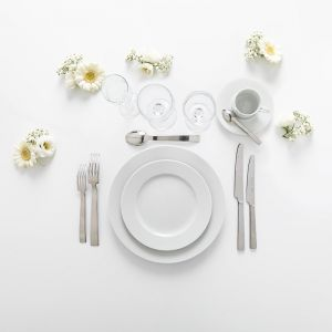 Pack supérieur blanc - plat, dessert, café (10 pers)